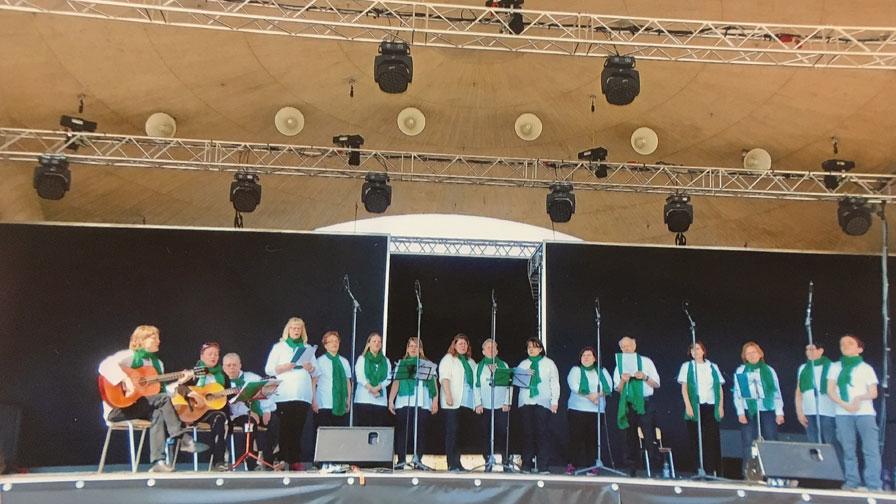 Singegruppe: 16 Personen stehen nebeneinander auf einer großen Bühne und singen. Alle tragen schwarze Hosen, weiße Hemden und grüne Halstücher